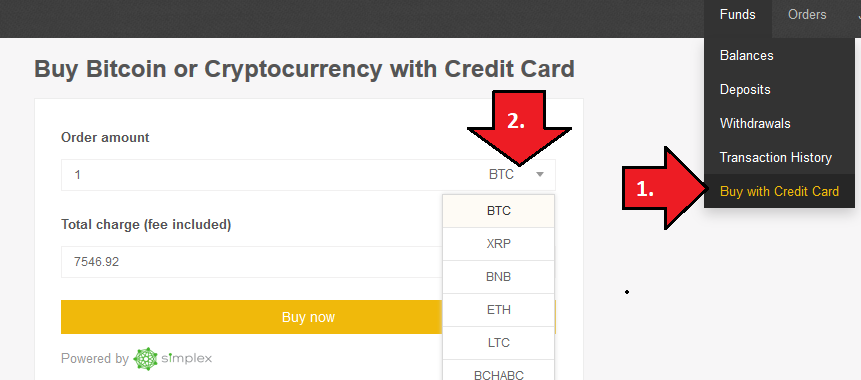Buy Bitcoin Cash with credit card