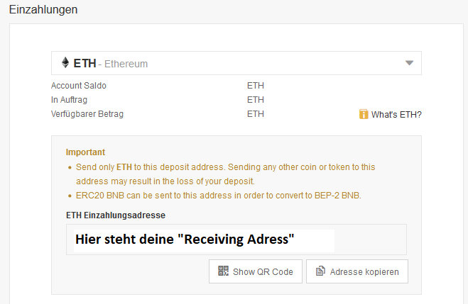 Bitcoin Receiving Adress bei Binance