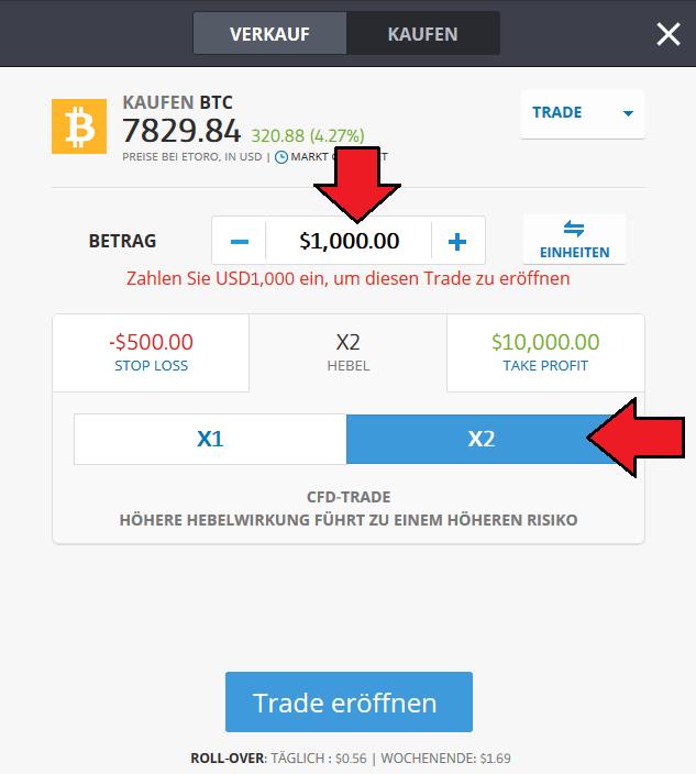 Bitcoin CFD bei eToro kaufen