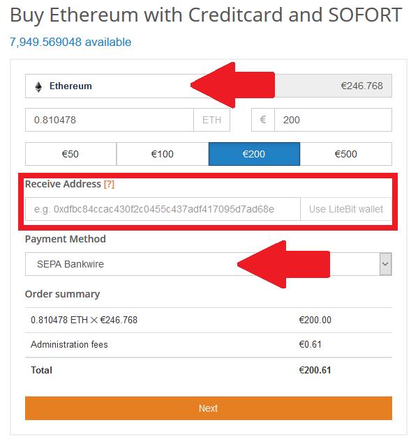 Acheter Ethereum sur litebit.eu