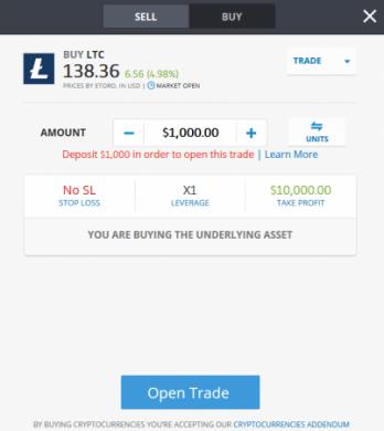 Compre Litecoin na ordem de compra da eToro