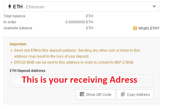 Receiving Adress for Ether in Binance