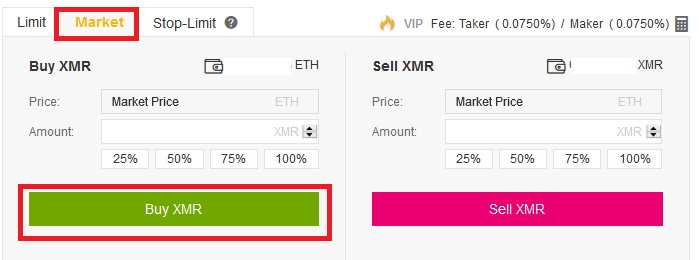 market order for Monero XMR
