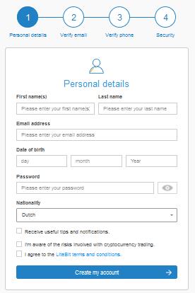 Buy cryptocurrencies on Litebit register process