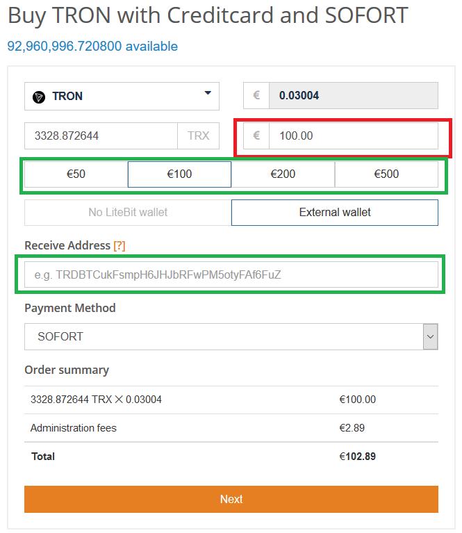 Acheter TRX sur Litebit