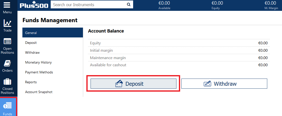 como depositar fundos na Plus500
