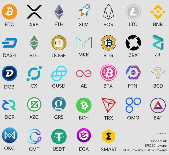 ELLIPAL unterstützte Kryptowährungen