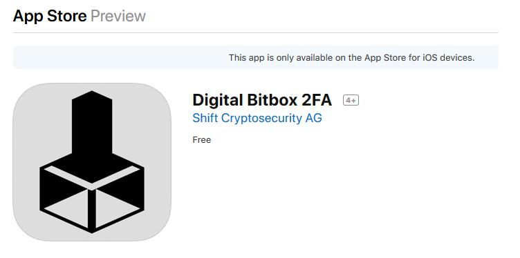 Mobile App iOS DigitalBitBox 2FA