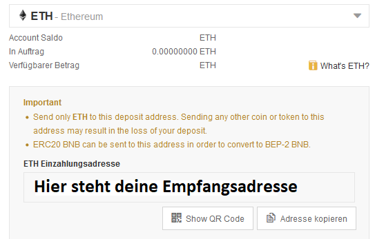 Monero Empfangsadresse Binance