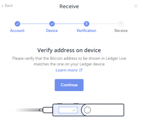 Receive Bitcoin on Ledger Nano S Step 3