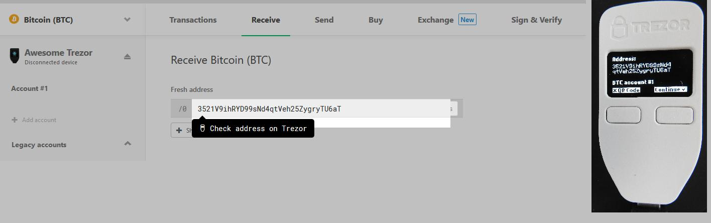 Receive Bitcoin with the Trezor One
