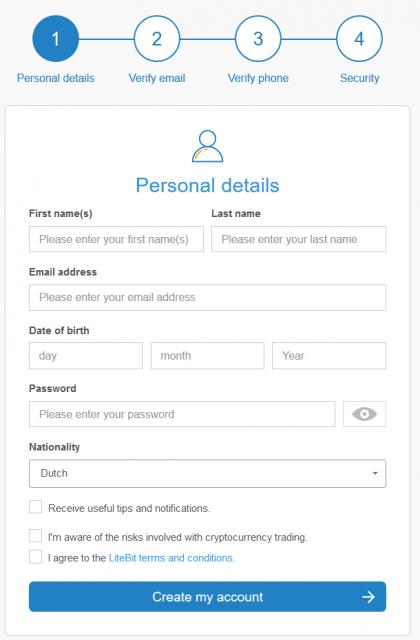 Register on Litebit