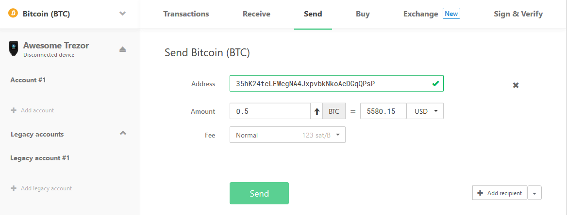 Send Bitcoin with the Trezor One