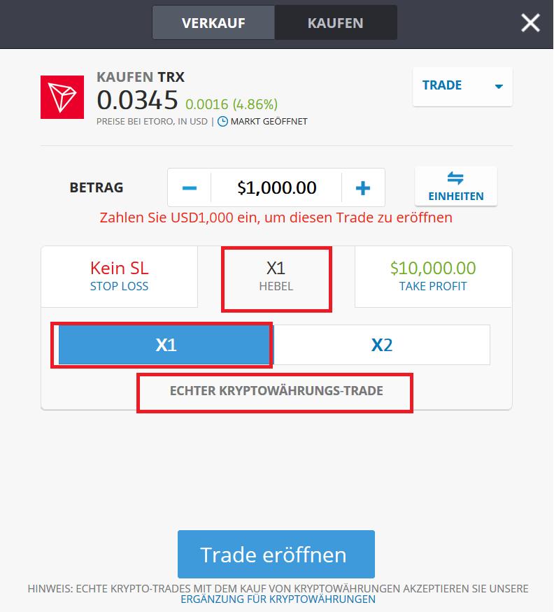 TRON kaufen auf eToro Kaufanleitung
