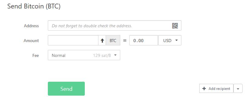 Enviar Bitcoin com o Trezor Modelo T
