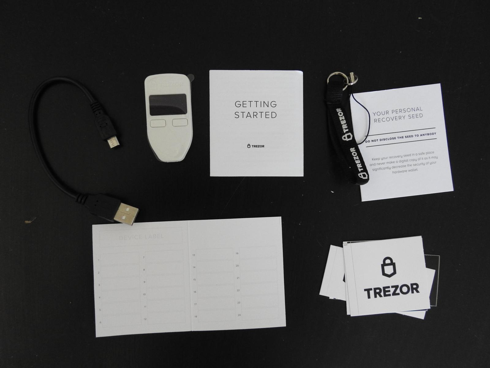 Trezor One Scope of Delivery