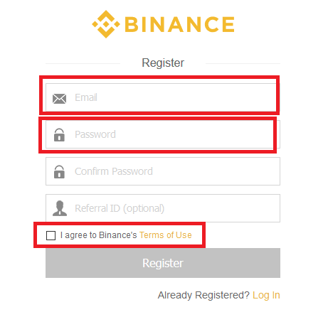 Registro de Binance
