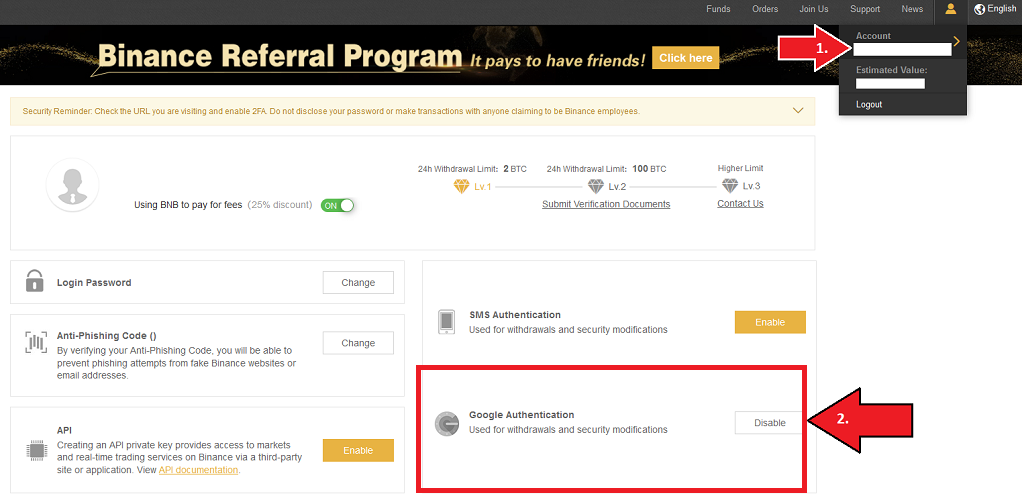 Activar Binance 2FA Google Authenticator
