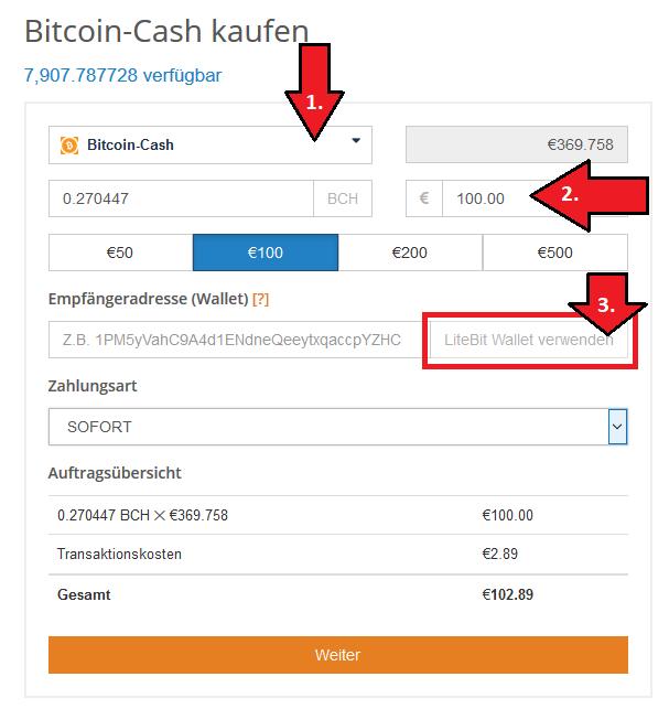 Bitcoin Cash per Kreditkarte SEPA SOFORT kaufen