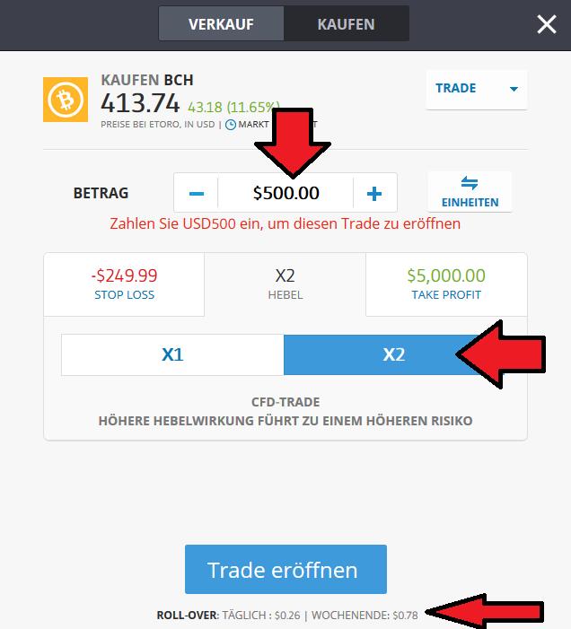 Bitcoin Cash CFD bei eToro kaufen
