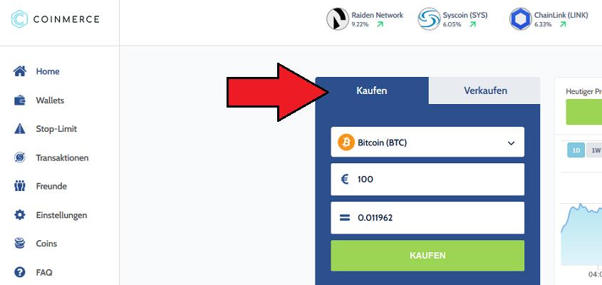 Coinmerce Kryptowährungen kaufen