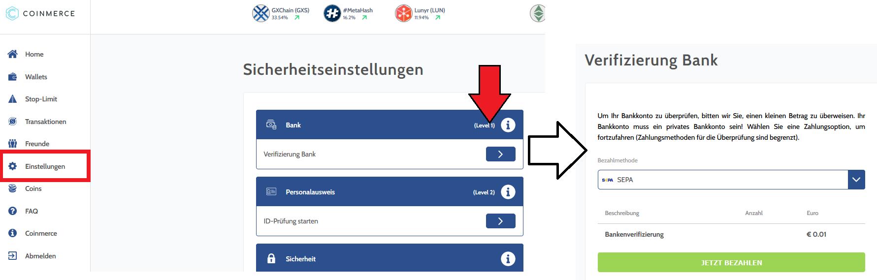 EOS kaufen Coinmerce Anleitung