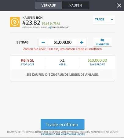 eToro Kryptowährungen kaufen