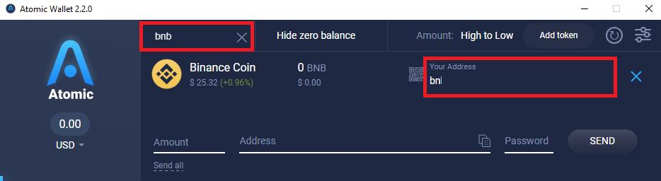 Binance Coin received on the Atomic Wallet