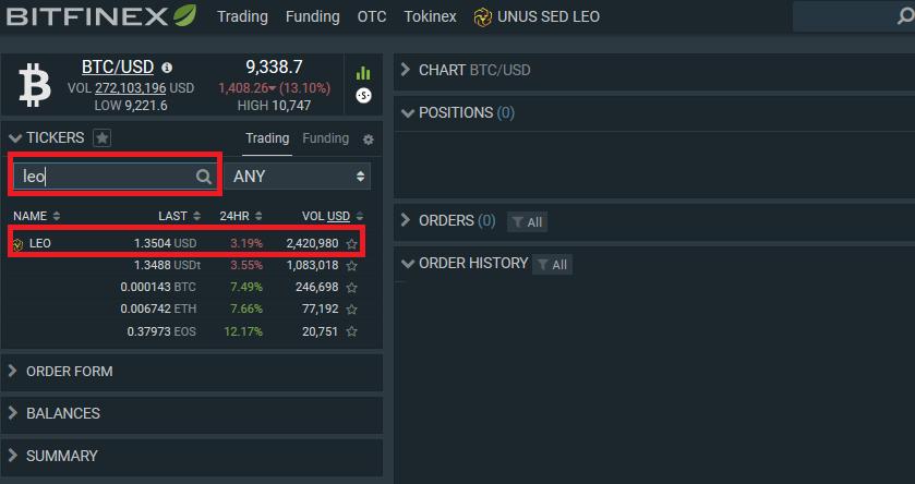 comprar LEO token en Bitfinex