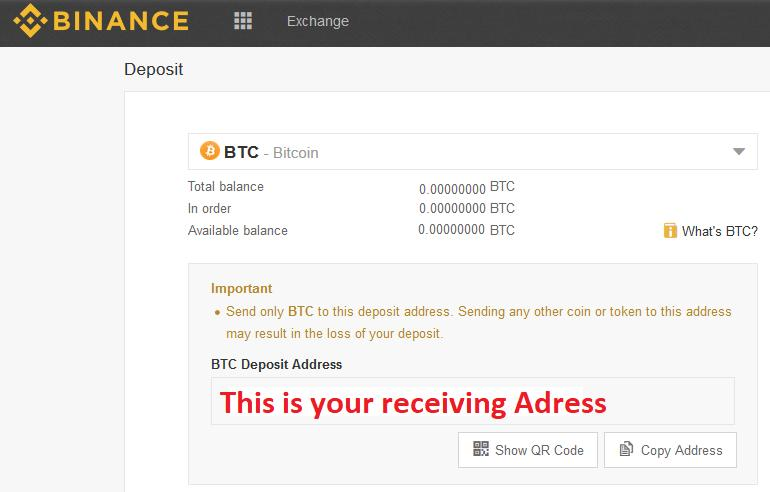 Binance BTC Receiving adress for buying ZCash