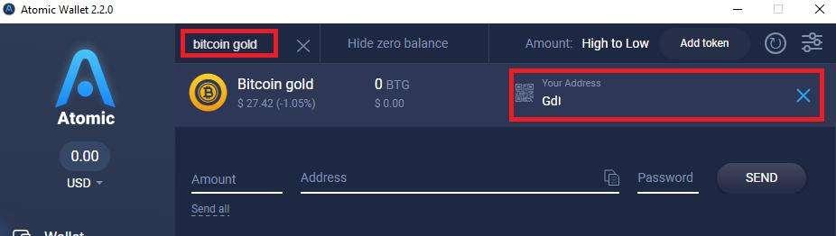 Bitcoin Gold wallet receiving address