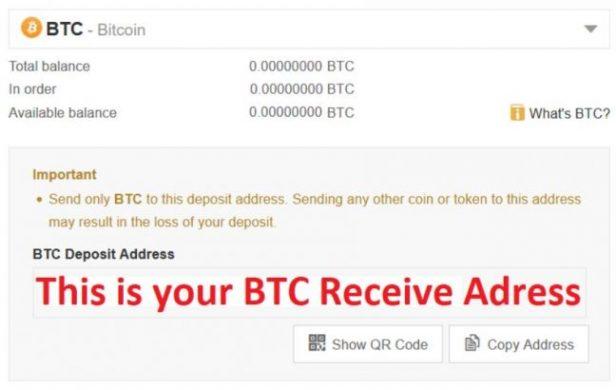 Bitcoin Receiving address on Binance