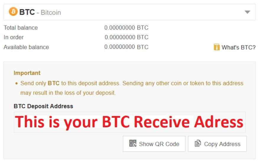 Bitcoin Adresse de réception sur Binance