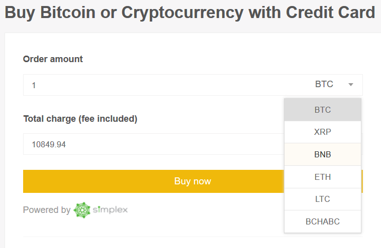 Acheter Binance Coin par carte de crédit sur Binance Etape 1