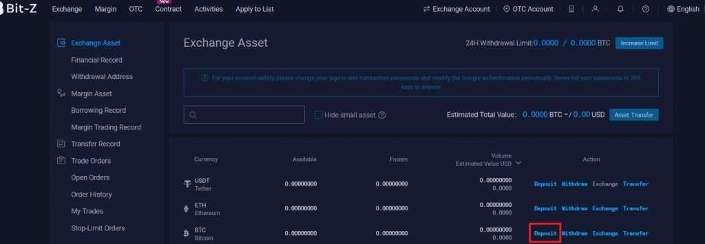 Acheter Binance Coin sur Bit Z Etape 2