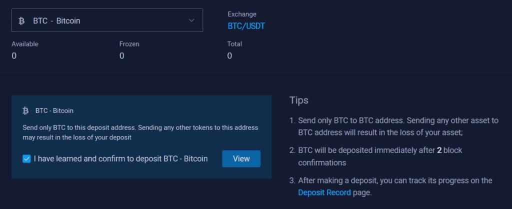Acheter Binance Coin sur Bit Z Etape 3