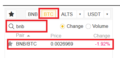 Acheter BNB avec Bitcoin sur Binance