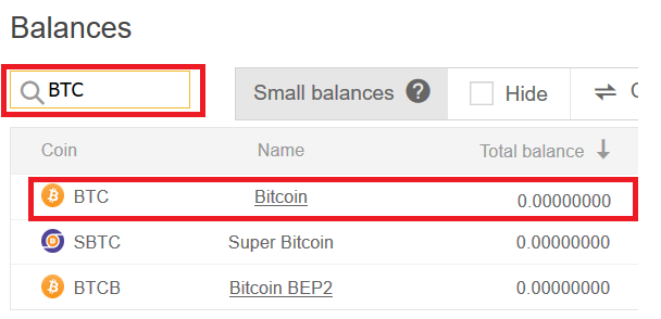 Find Bitcoin receiving address on Binance