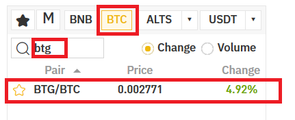 Find Bitcoin Gold at the exchange