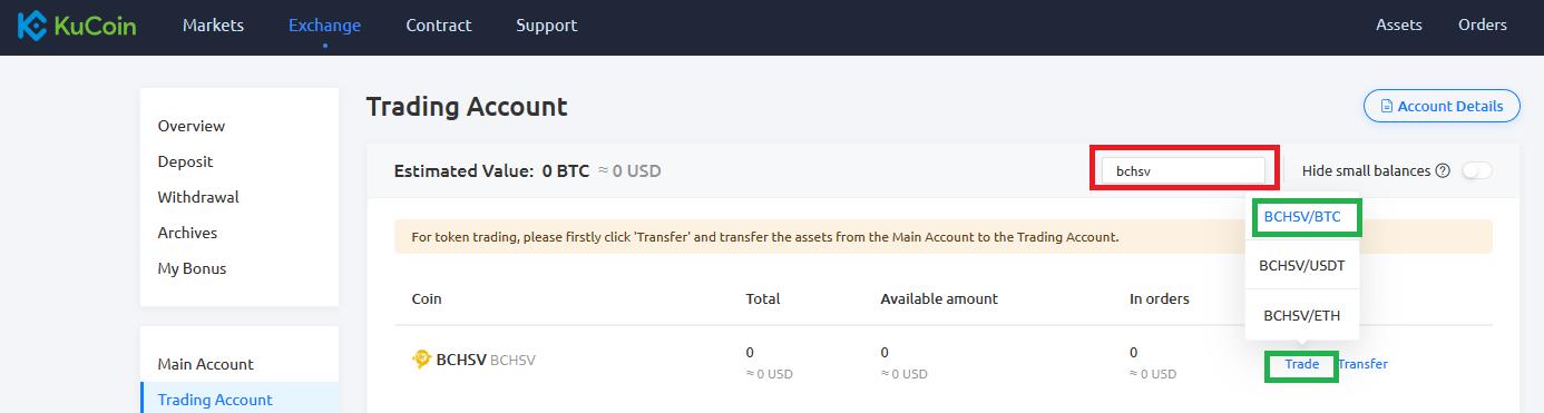 tradez Bitcoin SV sur KuCoin