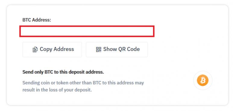 Bitcoin reçoit une adresse sur Binance