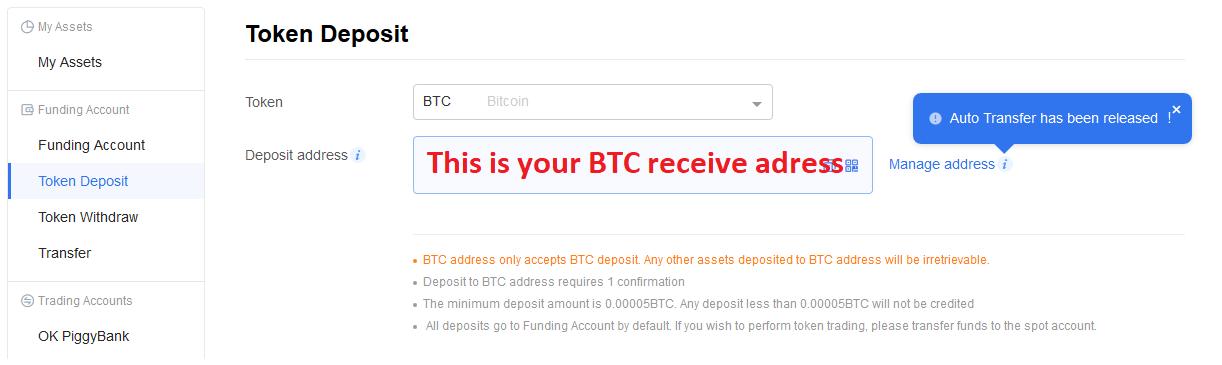 Deposit Bitcoin on OKEx