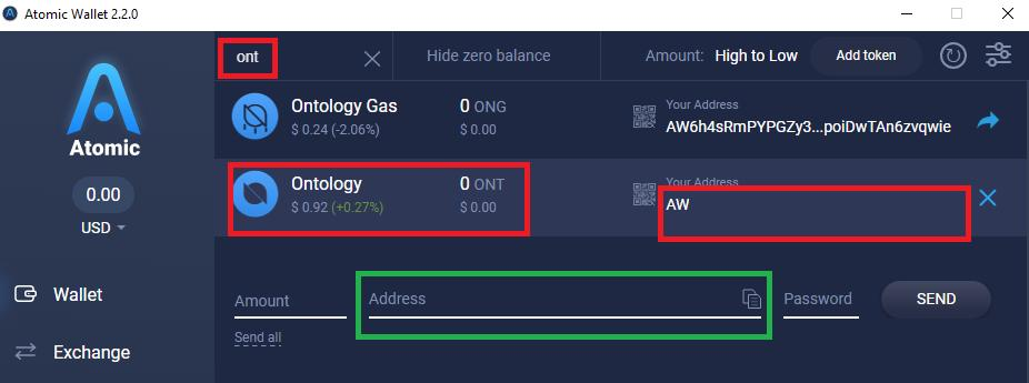 Receiving and sending Ontology with the Atomic Wallet