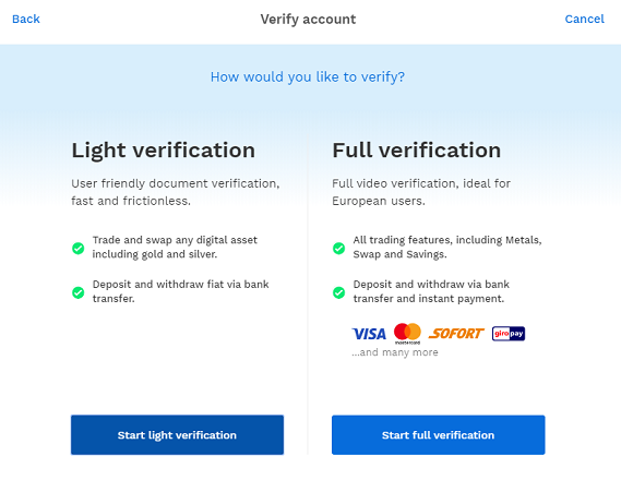 bitpanda verification light full