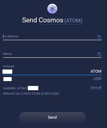 cosmos send atomic wallet