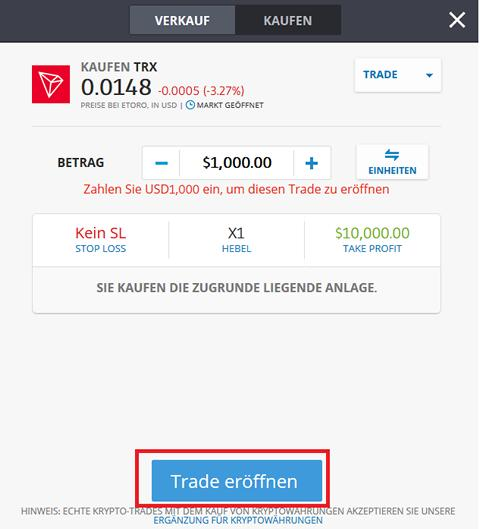 TRON TRX kaufen Schritt2