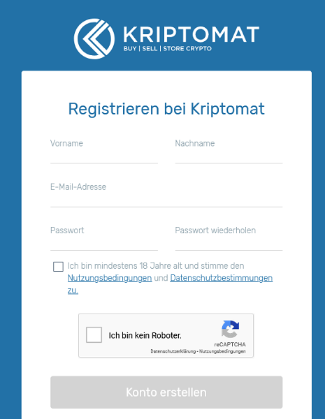kriptomat registrierung